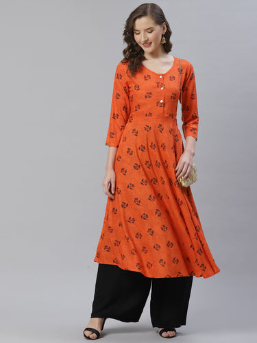 Jompers Women Orange & Black Floral Printed A-Line Kurta