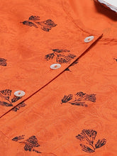 Load image into Gallery viewer, Jompers Women Orange & Black Floral Printed A-Line Kurta