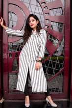 Load image into Gallery viewer, Jompers Women Grey & Off-White Striped Cotton Straight Kurta