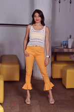 Load image into Gallery viewer, Jompers Women Mustard Smart Fit Solid Bottom Flared Trousers