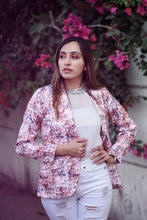 Load image into Gallery viewer, Jompers Women Peach-Coloured & Grey Satin Printed Single-Breasted Casual Blazer