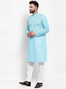 Jompers Men Sky Blue Chikan Kurta with Churidar ( JOKP 561 Sky )