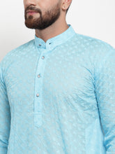 Load image into Gallery viewer, Jompers Men Sky Blue Chikan Kurta with Churidar ( JOKP 561 Sky )