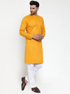Jompers Men Mustard Yellow & White Solid Kurta with Churidar ( JOKP 611 Mustard )
