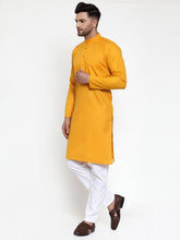 Load image into Gallery viewer, Jompers Men Mustard Yellow & White Solid Kurta Only ( KO 611 Mustard )