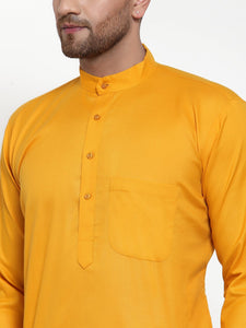 Jompers Men Mustard Yellow & White Solid Kurta Only