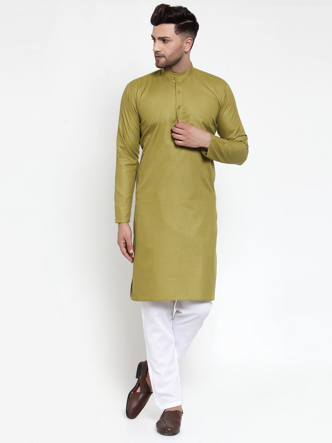 Jompers Men Olive Green & White Solid Kurta with Churidar ( JOKP 611 Olive )