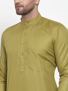 Jompers Men Olive Green & White Solid Kurta Only
