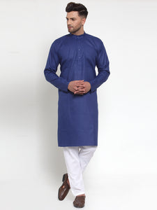 Jompers Men Royal-Blue & White Solid Kurta with Churidar