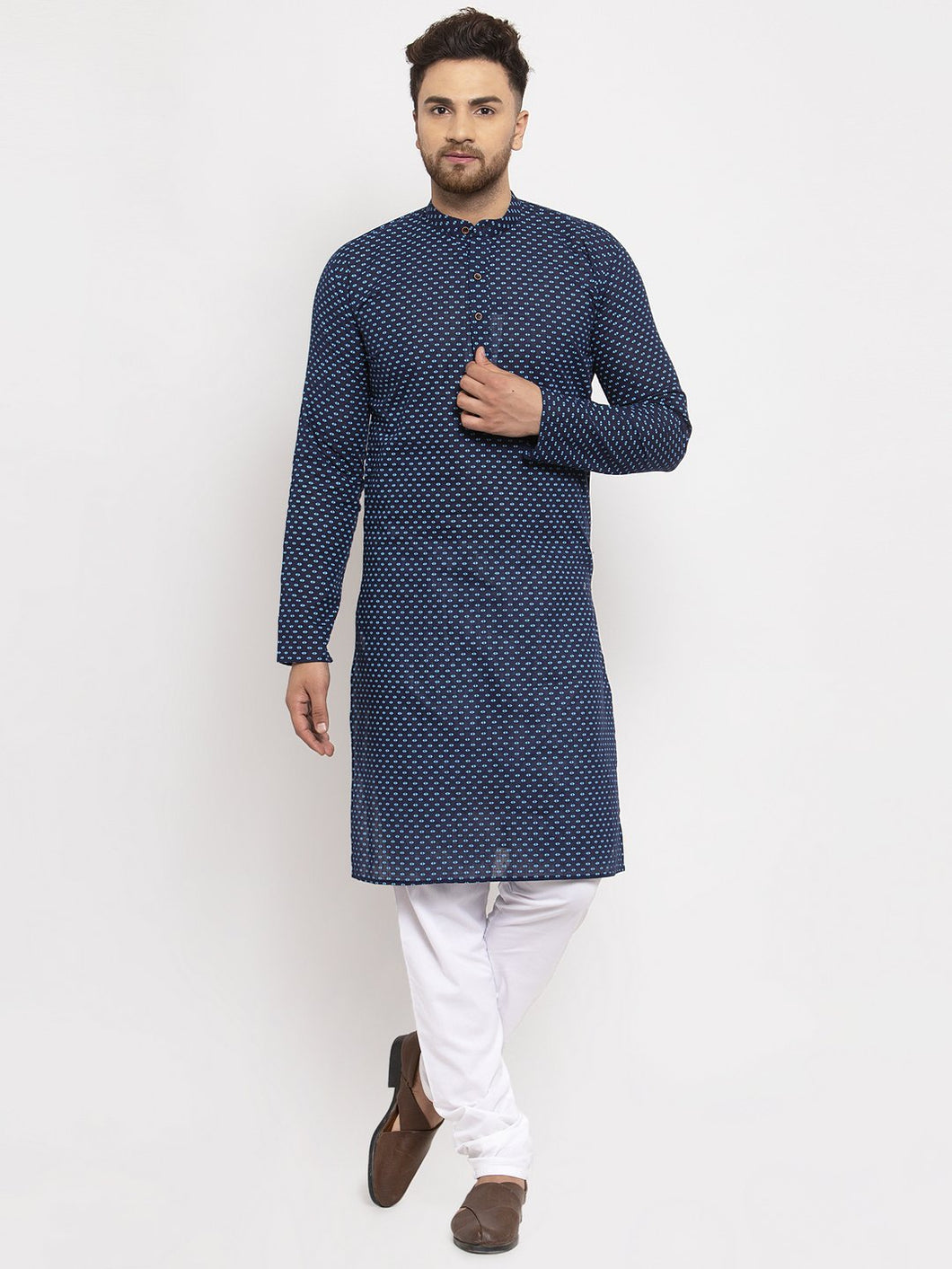 Jompers Men Blue Cotton Printed Kurta Only ( KO 614 Blue )