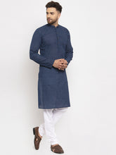 Load image into Gallery viewer, Jompers Men Blue Cotton Printed Kurta with Pyjamas ( JOKP 614 Blue )