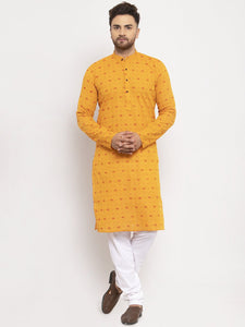 Jompers Men Yellow & White Cotton Printed Kurta Only ( KO 614 Yellow )