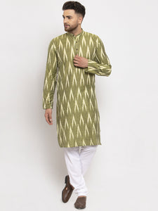 Jompers Men Green Woven Design Ikkat Straight Kurta with Churidar