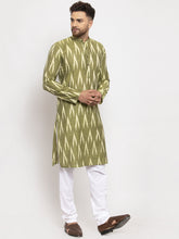 Load image into Gallery viewer, Jompers Men Green Woven Design Ikkat Straight Kurta with Churidar