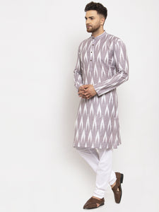 Jompers Men Grey Woven Design Ikkat Straight Kurta with Churidar
