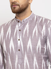 Load image into Gallery viewer, Jompers Men Grey Woven Design Ikkat Straight Kurta with Churidar
