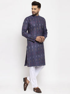 Jompers Men Navy Blue Woven Design Ikkat Straight Kurta Only