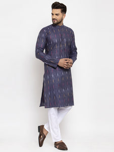 Jompers Men Navy Blue Woven Design Ikkat Straight Kurta with Churidar