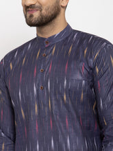 Load image into Gallery viewer, Jompers Men Navy Blue Woven Design Ikkat Straight Kurta with Churidar