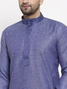 Jompers Men Blue Embroidered Kurta Only ( KO 619 Blue )