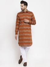 Load image into Gallery viewer, Jompers Men Mustard & White Woven Design Kurta with Pyjamas ( JOKP 621 Mustard )