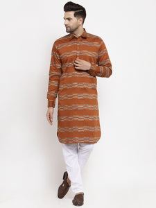 Jompers Men Mustard & White Woven Design Kurta with Pyjamas ( JOKP 621 Mustard )