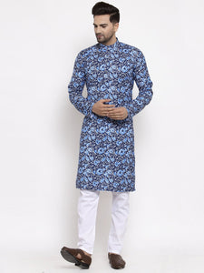 Jompers Men Blue Printed Kurta Only ( KO 623 Blue )