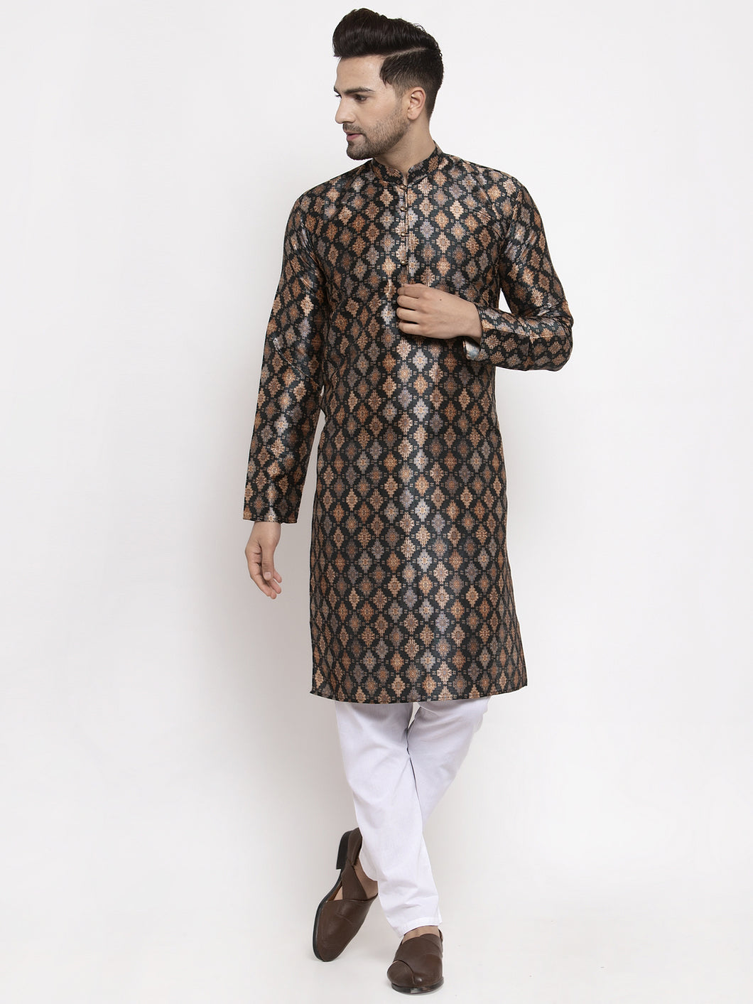 Jompers Men Black Printed Kurta with Pyjamas ( JOKP 624 Black )