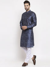 Load image into Gallery viewer, Jompers Men Navy Blue & White Printed Kurta with Pyjamas ( JOKP 624 Blue )