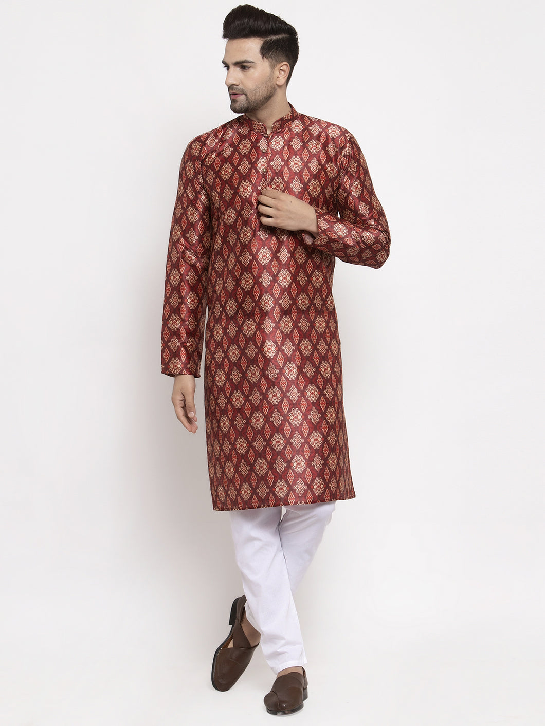 Jompers Men Maroon Printed Kurta with Pyjamas