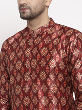 Load image into Gallery viewer, Jompers Men Maroon Printed Kurta with Pyjamas ( JOKP 624 Maroon )
