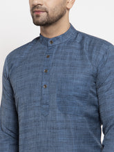 Load image into Gallery viewer, Jompers Men Blue Self Design Kurta with Pyjamas
