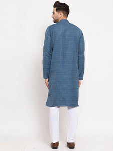 Jompers Men Blue Self Design Kurta with Pyjamas