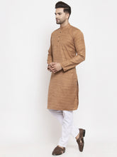 Load image into Gallery viewer, Jompers Men Brown Self Design Kurta with Pyjamas
