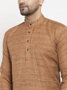 Jompers Men Brown Self Design Kurta with Pyjamas