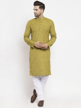 Load image into Gallery viewer, Jompers Men Green Self Design Kurta with Pyjamas