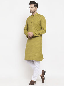 Jompers Men Green Self Design Kurta with Pyjamas