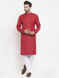 Jompers Men Maroon Self Design Kurta with Pyjamas