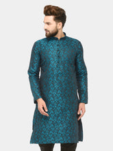 Load image into Gallery viewer, Men Green & Black Self Design Kurta Only