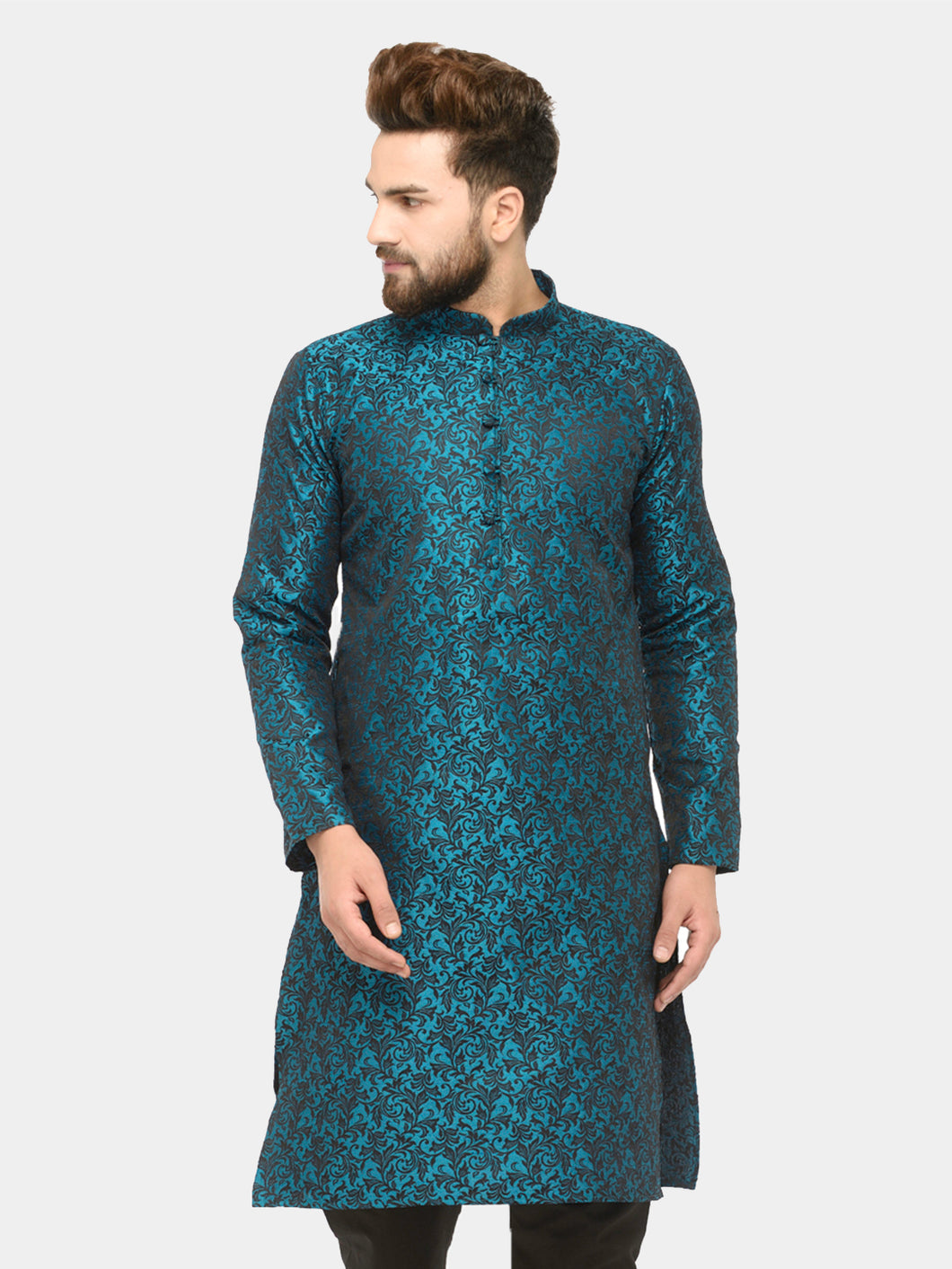 Men Green & Black Self Design Kurta Only ( JOK 517 Green )