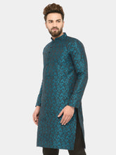 Load image into Gallery viewer, Men Green & Black Self Design Kurta Only ( JOK 517 Green )