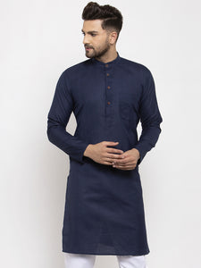 Men Navy Blue & White Solid Kurta Only