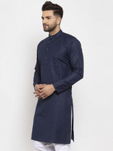 Load image into Gallery viewer, Men Navy Blue & White Solid Kurta Only