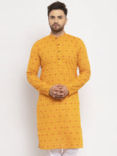 Load image into Gallery viewer, Jompers Men Yellow & White Cotton Printed Kurta Only ( KO 614 Yellow )