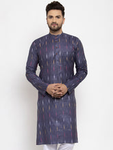 Load image into Gallery viewer, Jompers Men Navy Blue Woven Design Ikkat Straight Kurta Only
