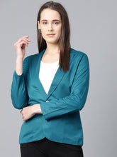 Load image into Gallery viewer, Jompers Women Teal Blue Solid Single-Breasted Smart Casual Blazer