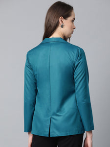 Jompers Women Teal Blue Solid Single-Breasted Smart Casual Blazer