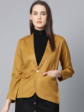 Load image into Gallery viewer, Jompers Women Mustard Solid Single-Breasted Smart Casual Blazer