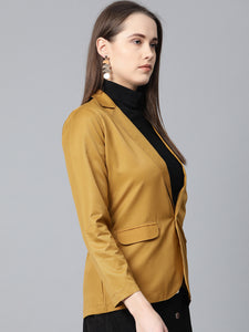 Jompers Women Mustard Solid Single-Breasted Smart Casual Blazer