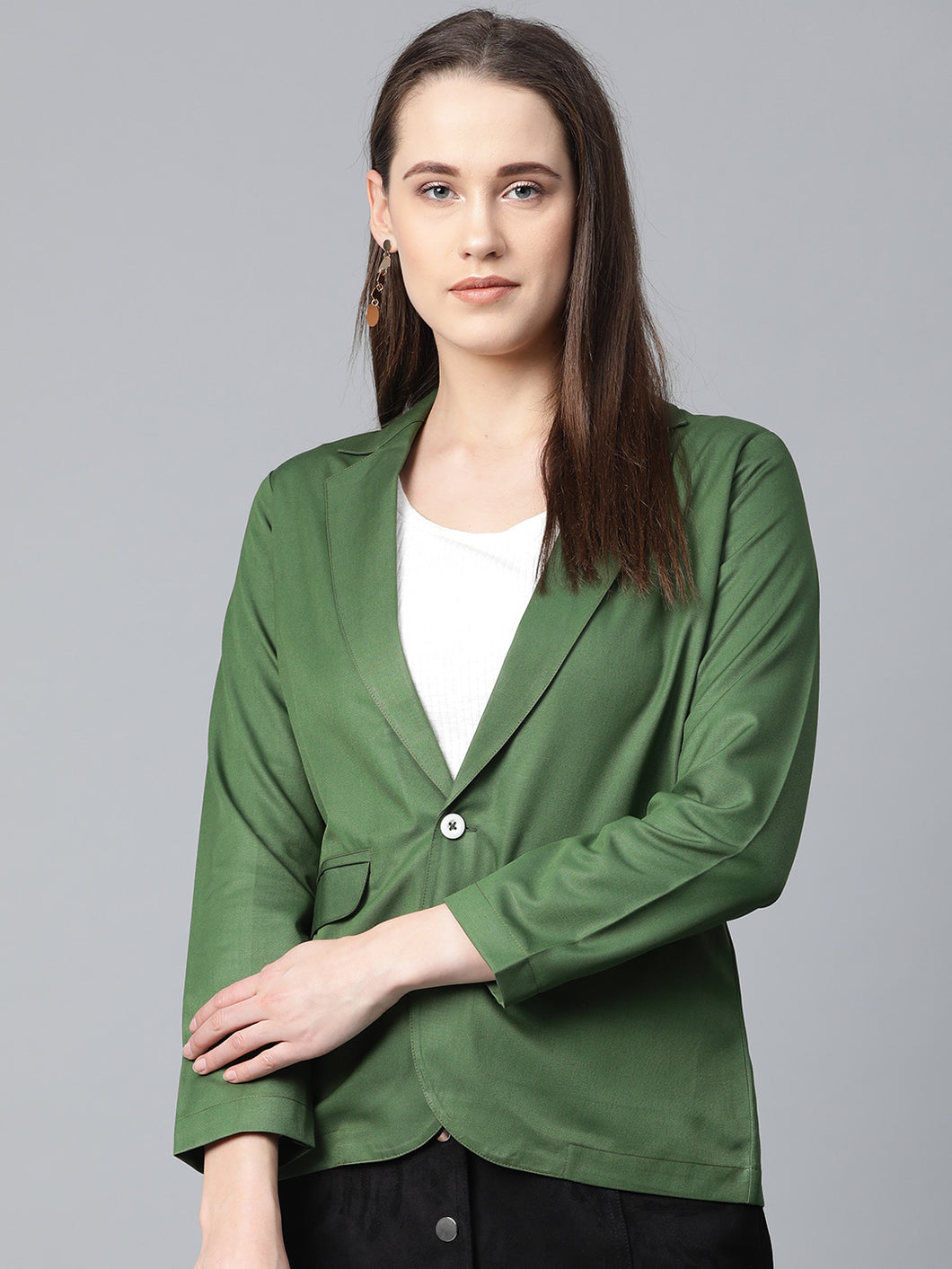 Jompers Women Olive-Green Solid Single-Breasted Smart Casual Blazer